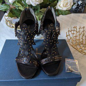Pour La Victoire black heels with gold studs 7.5